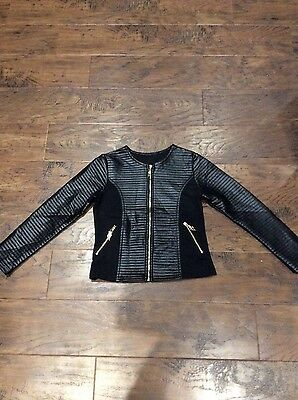 New Girls Leather look jacket age 7-8