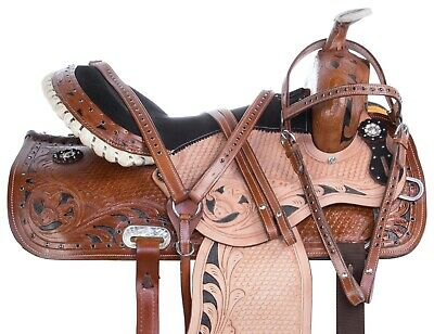 """16"""" 17"""" 18"""" Western Pleasure Trail Ranch Roping Horse Leather Saddle Tack Set"""