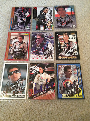 Lot Of 9 Darrell Waltrip Signed Autograph Cards Nascar
