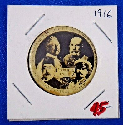 Original Vintage WWI WW1 Central Powers Leaders of Europe Pin Pinback Button