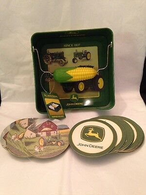 John Deere Tin Napkin Holder NWT 36 Drink Coasters Two Designs Cardboard Barware