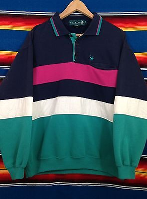 Vintage Mens 90's KNIGHTS OF ROUNDTABLE Blue Green Pink Lounge Sweatshirt Polo M