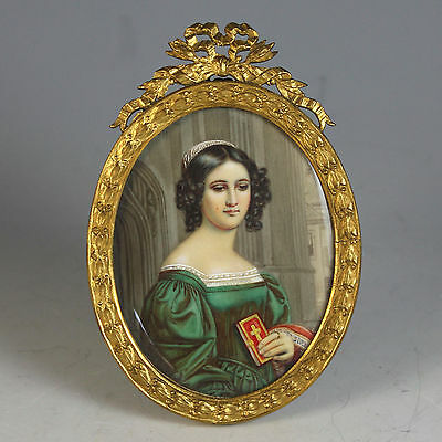Antique Miniature Painting of a Young Lady with a Bible in Bow-top Frame