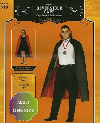 Adult Vampire Cape Reversible Black / Red Halloween - Brand New