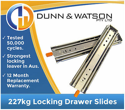 1422mm 227kg Locking Heavy Duty Drawer Slides / Fridge Runners - 500lb, 56""