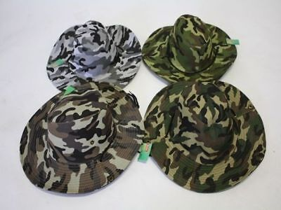 12 x Camo Hats Wide Brim W/clips Neck Cord 4asst Keep Shaded Wholesale Lot
