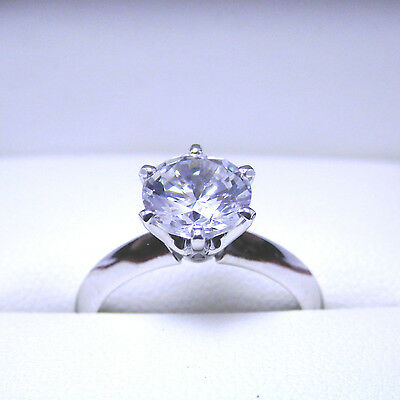 9K SOLID White Gold 1.5Carat Round Cut My Russian Diamond Ladies Engagement Ring