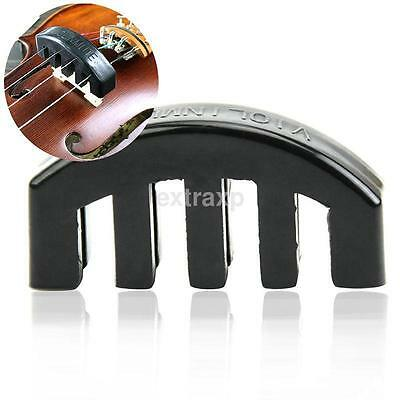 New Mute Rubber Electric Acoustic Violin Fiddle Silencer Practice Black