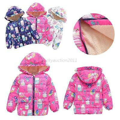 Toddler Baby Kids Boys Girls Winter Warm Hooded Floral Coat Jacket Outwear 2-7Y