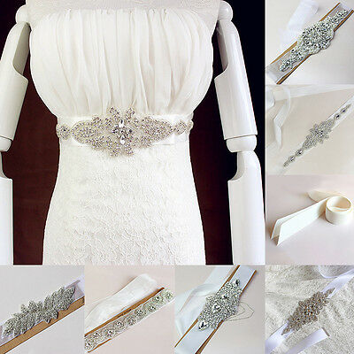 Charm Bridal Wedding Dress Rhinestone Vintage Beaded Crystal Belt Sash