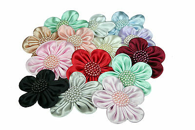 """Unotrim 2.5"""" Hand Sewn Satin Pearl Beaded Flower Red Blue Green Black Peach Pink"""