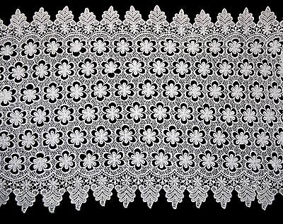 """Unotrim 18.5"""" White Floral Guipure Venice Lace Trim Double Scalloped By Yard"""