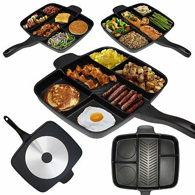 Frying Multi-Section Pan masterpan Non-Stick Grill 5 in 1 Non Pancake Black