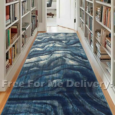 HERVEY ABSTRACT ARTSY BLUE MODERN FLOOR RUG RUNNER 80x400cm **FREE DELIVERY**