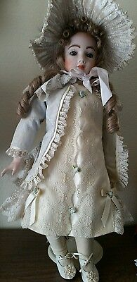 "23"" VTG French Andre Thuillier REPRO DOLL-wow! Dress- Leather Body-Byron Mold"