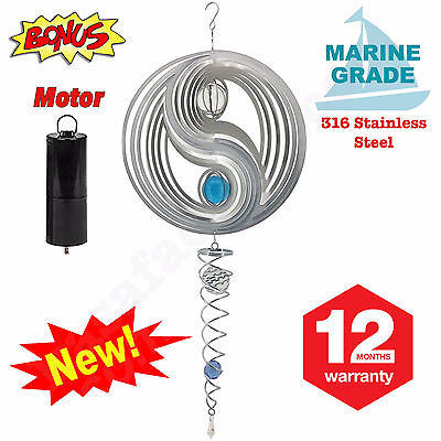 New Wind Spinner Revolving Motorised Yin Yang 316 Stainless Steel Indoor Outdoor