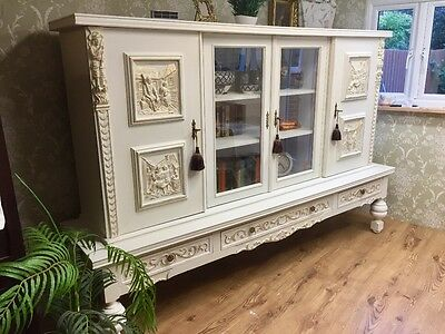 French Provincial Carved Antique Sideboard storage Annie Sloan Chalk Old White
