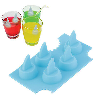 Silicone Blue Shark Fin Ice Tray Cube Freeze Maker Chocolate Mould Mold ZC