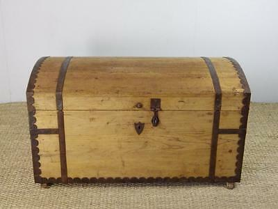 FREE DELIVERY Antique Vintage Metal Bound Dome Top Chest Box Trunk Coffer REF223