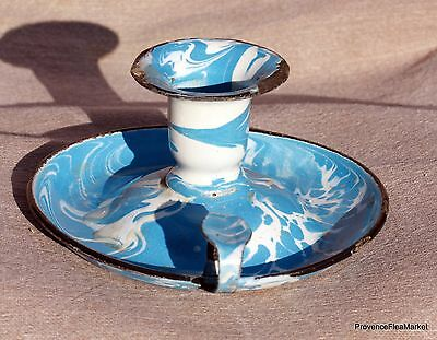 Antique French Enamelware Graniteware Candle Holder Swirl Blue Ca558