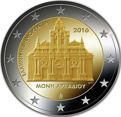 """2 € Greece 2016""""150 Years of the Holocaust in the Arkadi Monastery"""" UNC Pre-sale"""