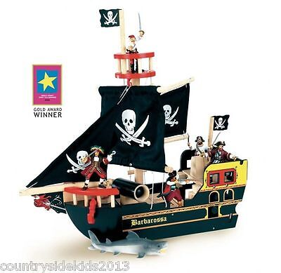 New Le Toy Van Barbarossa Pirate Ship Wooden