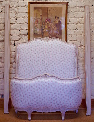 French Antique Single Demi Corbeille Bed upholstered in PEONY & SAGE 'Posies