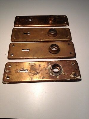 "4 Matching Vintage  840  Brass ? 6 5/8"" Tall Door Knob Backplate W/ Keyhole"