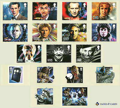 2013 Doctor Who PHQ 374 - GB Mint Set of 17 Royal Mail Post Cards