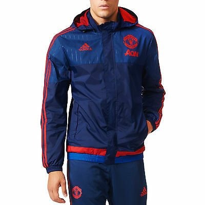 adidas Manchester United MUFC Mens All Weather Football Training Jacket - Blue