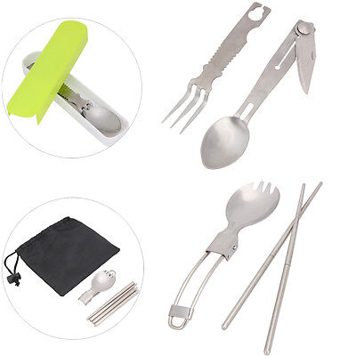 Stainless Folding Knife Fork Spoon Camping Hiking Tableware Multi Utensil Tool
