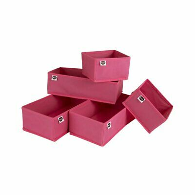 South Shore 5 Piece Polyester Drawer Organizer Set in Pink