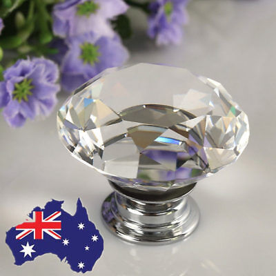 30mm Diamond Clear Crystal Glass Door Pull Drawer Knob Handle Cabinet AU