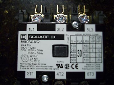 SQ D SQ 8910DPA33V02 600V 3-Pole 30A 120V Coil Definate Purpose Contactor