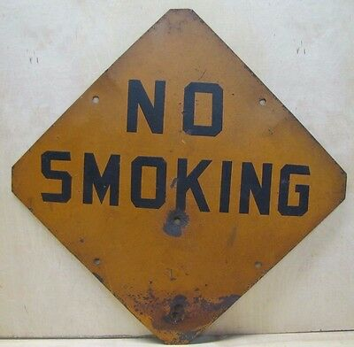 Old NO SMOKING Metal Sign 2 side Gas Station Industrial Plant Safety Advertising