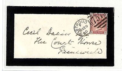 NN358 GB 1880 *STROUD* MOURNING ENVELOPE Gloucester Cover