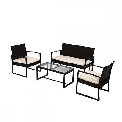 New 4 PCS Outdoor Patio Sofa Set Sectional Furniture PE Wicker Rattan Deck Couch
