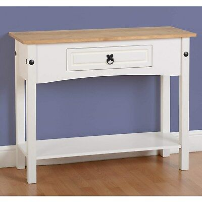 Seconique Corona 1 Drawer Console Table with Shelf in White/Distress 300-304-010
