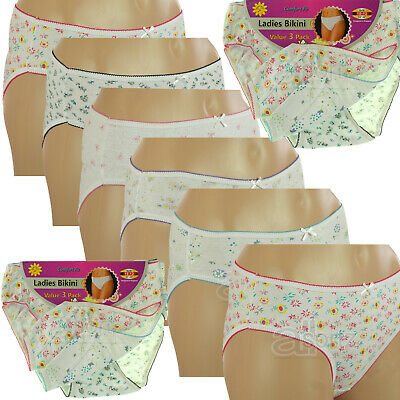 6 Pack Ladies Girls Womans 100% Cotton Bikini Knickers Briefs Underwear Comfort