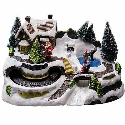 Christmas Light Up Cosy Winter Village SKATERS Train Indoor Lights Decoration