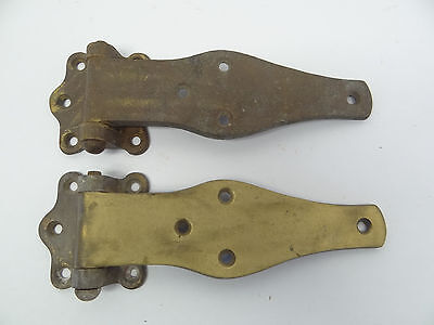 "Antique Brass Metal 456B Large Door Industrial 7"" Hinges Straps Hardware Parts"