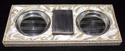 Sterling Silver 2 Ash Trays & Matchbox Matchbook Cover Set w/ Box