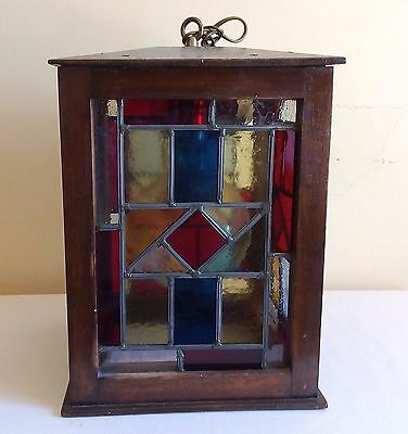 Genuine Antique Arts & Crafts Hanging Light Fixture Stained Glass & Wood 1920's