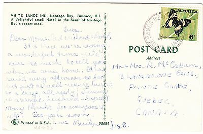 JAMAICA cover postmarked White Sands Beach,  - postcard to Canada