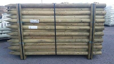 5 x 2.4m (8ft) x 75mm DIAMETER TREATED ROUND & POINTED WOODEN FENCE POST