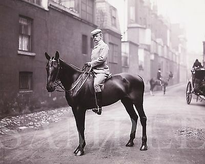 Vintage Circa 1907 Man On Horse Picture (8X10) Fine Art Print Antique Old Photo