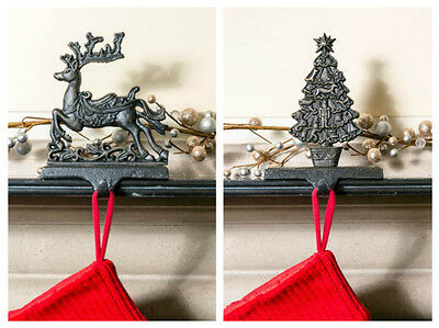 Beautiful Heavy Cast Iron Christmas Stocking Holder/Hanger