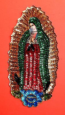 Authentic Mexican Sequinned Applique Patch Virgin of Guadalupe w/ single rose
