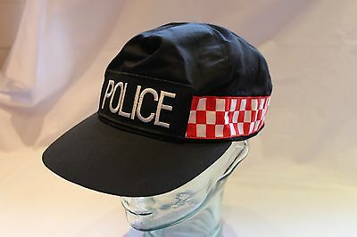 OBSOLETE POLICE BASEBALL HAT BLACK with RED / WHITE BAND