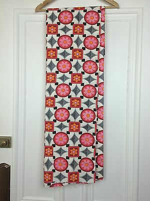 "Vintage Fabric 1960s Cotton Pink White Flowers 92"" X 46"" Retro Home Funky Art"